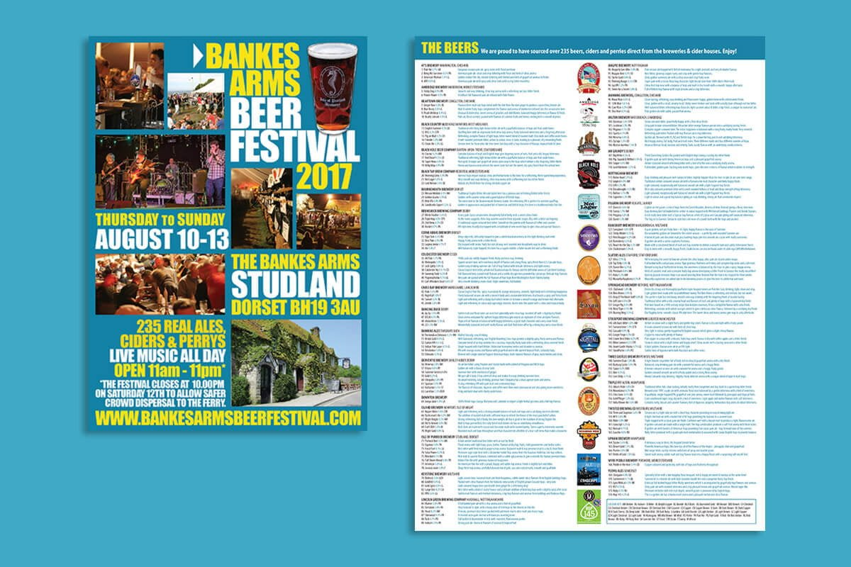Print design | Bankes Arms Beer Festival Programme & Tasting Notes