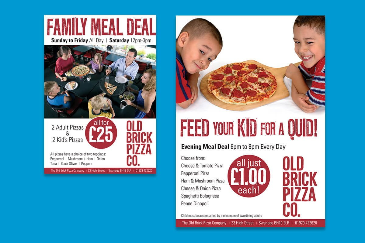 Print design | Old Brick Pizza Company posters
