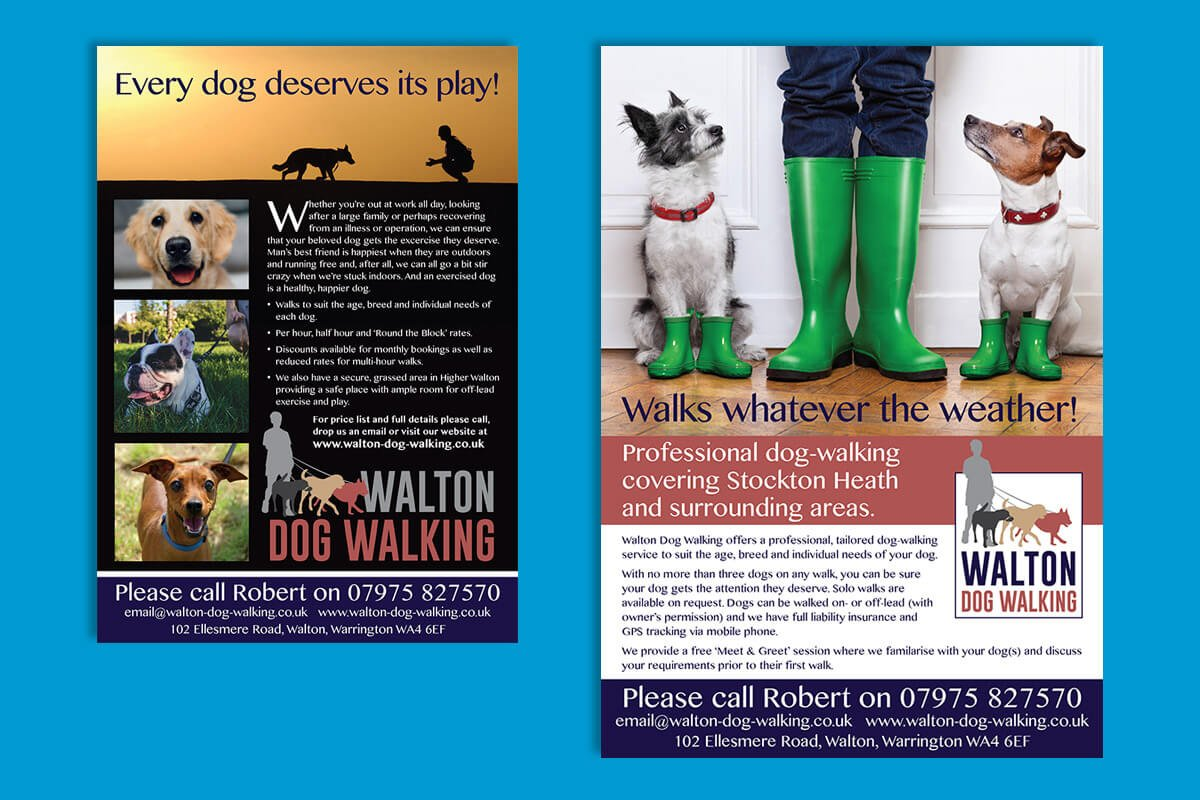 Print design | Walton Dog Walking Flyers