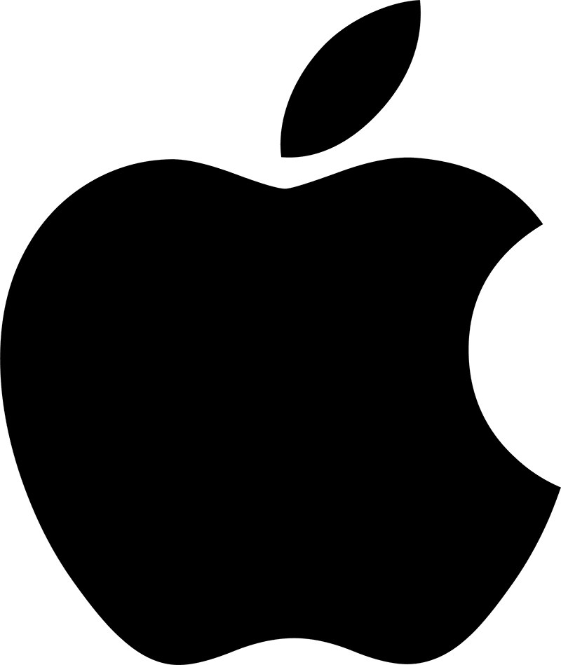 The Apple logo is immediately associated with the global brand.